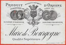 En L'état Etiquette MARC De BOURGOGNE Qualité Supérieure AB Diplôme D'Honneur * Blason De Tours 37 Touraine - Non Classés