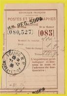 """Récépissé De Mandat Avec Cachet Manuel (37) TOURS RP + Griffe """"1er Registre Supp."""" (supplémentaire) - Marcophilie (Lettres)"""