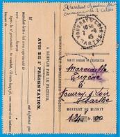 Récépissé De Mandat-Lettre Avec Cachet Manuel Perlé Octogonal VOUVRAY-sur-LOIR Sarthe (72) - Marcophilie (Lettres)