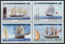 Micronesia 110-113a Block,MNH.Michel 178-181. Artifacts,whiling Vessels.1990. - Ships