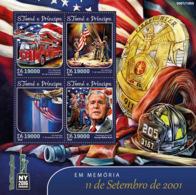 Sao Tome 2016  In Memory Of September 11, 2001, Geroge Bush,fire Truck - Sao Tome And Principe