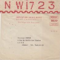 LOIRE ENV 1957 ST CHAMONT EMA DE REMPLACEMENT NW1723 INSTITUTION STE MARIE COLLEGE TARIF 20F - Storia Postale