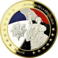 France, Médaille, Les Piliers De La République, Egalité, 2015, FDC, Copper - France