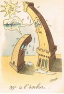 ITALIA- Illustrateur G.BRUSONI -  39° A L'ombra -Humour - Voyagée 1954-   Scans Recto Verso- Paypal Free - Autres