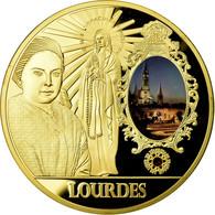 France, Médaille, Lourdes, Lieu De Pélerinage Français, FDC, Copper Gilt - France