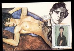France 1980 Art, Woman With Blue Eyes By Modigliani Maxicard - 1980-89