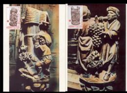France 1980 Welfare, Red Cross Sculptures 2x Maxicards - 1980-89