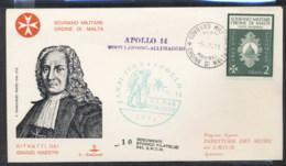 Malta 1971 Sovereign Military Order Apollo 14 Moon Landing FDC - Malte (Ordre De)