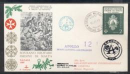 Malta 1969 Sovereign Military Order Apollo 12 Moon Landing FDC - Malte (Ordre De)