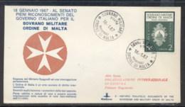 Malta 1967 Sovereign Military Order Recognition FDC - Malte (Ordre De)
