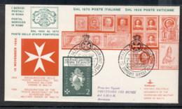 Malta 1966 Sovereign Military Order Post Inauguration FDC - Malte (Ordre De)