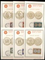 Malta 1970 Sovereign Military Order Coins 6x Maxicards - Malte (Ordre De)