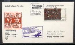 Germany 1980 First Flight DC10 Frankfurt-Karachi-Beijing Cover - [6] Democratic Republic