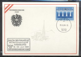 Austria 1984 Europa Bridge, Salon Der Philatelie Hamburg Souvenir Card - FDC