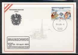 Austria 1985 Ski Championships, Braunschweig Souvenir Card - FDC