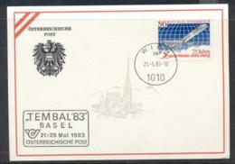 Austria 1983 Austrian Airlines Tembal'83 Basel Souvenir Card - FDC