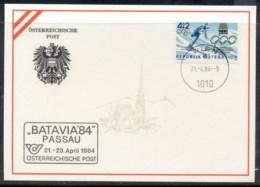 Austria 1984 Olympic Skiing, Batavia '84 Souvenir Card - FDC