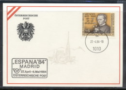 Austria 1984 Gregor Mendel, Genetics, Espana '84 Souvenir Card - FDC