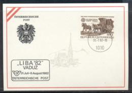Austria 1982 Europa, Horse Drawn Railroad, Liba '82 Souvenir Card - FDC