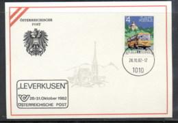 Austria 1982 Mail Bus Service, Leverkusen Souvenir Card - FDC
