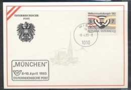 Austria 1983 World Communications Year, Munchen Souvenir Card - FDC
