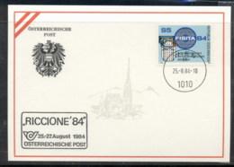 Austria 1984 Automobile Engineers, Riccione '84 Souvenir Card - FDC