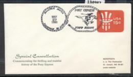USA 1980 Pony Express PSE Souvenir Cover - Event Covers