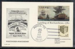 USA 1981 Landing Of Rochambeau PSE  Hamburg-Westindien Souvenir Cover - Event Covers