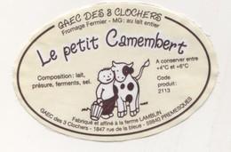 CAMEMBERT LE PETIT CAMEMBERT ( ENFANT ET VACHE ) GAEC DES 3 CLOCHES FERME LAMBLIN A PRESMEQUES NORD, VOIR LE SCANNER - Fromage