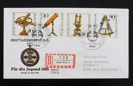 """FDC Bund, BRD, Michel-Nr. 1090-1093, Ersttagsbrief """"Jugendmarken 1981 - Optische Instrumente"""" - FDC: Brieven"""
