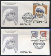Albania 1996 Europa Famous Women + MS 2x FDC - Albania
