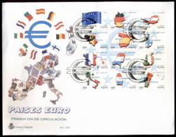 Spain 1999 Introduction Of The Euro Blk 12 XLFDC - FDC