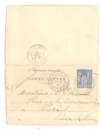 Carte Lettre 15 Centimes Type Sage Nangis 77 Seine Et Marne Dumond Nocard Rue Du Mouton Matelas Lits De Plume - Entiers Postaux