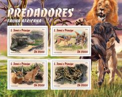 Sao Tome 2016  Fauna    African  Predators ,lion, Crocodile ,snake - Sao Tome And Principe