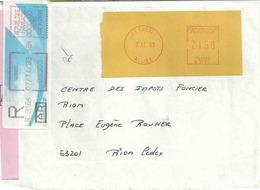 Ema Neopost R - Lettre Recommandée De Cusset - étiquette De Mog Pour Enregistrement De La Recommandation - Poststempel (Briefe)