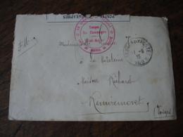 Service De Sante Troupe En Campagne Et Lettre Ouverture Censure Cachet Franchise Postale Militaire Guerre 14.18 - Marcofilia (sobres)