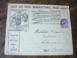 P P Pre Oblitere Timbre Type Blanc 10 C Sur Enveloppe Commereciale  Elbeuf Union 3 Manufactures - 1921-1960: Période Moderne