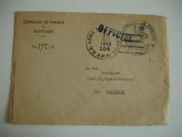 Lettre 1949 Consulat France Stuttgart Obliteration U S Army Service - Poststempel (Briefe)
