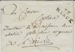 An 8- Lettre De 73 / MEAUX ( Seine Et Marne ) 28 X 10 Mm Noir  Taxe 2 D Rouge Pour Paris -au Dos, Arrivée 4 Cerclé - Marcophilie (Lettres)