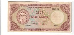 Somalia 20 Scellini Banca Nazionale Somala Mogadiscio 1971 Bel Bb+ Lotto.2477 - [ 6] Colonies
