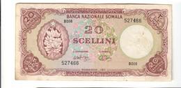 Somalia 20 Scellini Banca Nazionale Somala Mogadiscio 1971 Bel Spl+ Ma Mancanza Di Carta Lotto.2478 - [ 6] Colonies