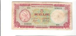 Somalia 5 Scellini Banca Nazionale Somala Mogadiscio 1966 Bb Lotto.2479 - [ 6] Colonies