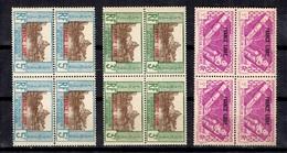 Océanie France Libre Maury N° 140, N° 141 Et N° 147 En Blocs De 4 Neufs ** MNH. TB. A Saisir! - Oceania (1892-1958)
