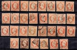 France YT N° 16, Trente Timbres Oblitérés. Belles Nuances Et Oblitérations. B/TB. A Saisir! - 1853-1860 Napoléon III