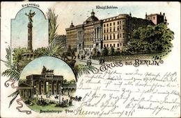 Lithographie Berlin Mitte, Königliches Schloss, Reiterdenkmal, Siegessäule, Brandenburger Tor - Germany