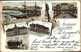 Lithographie Antwerpen Anvers Flandern, Les Bassins, Monument De L'Affranchissement De L'Escaut, Bourse - Belgium