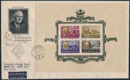 1947 Roosevelt Blokkpár 2 Db Légi FDC-n New Yorkba (90.000 ++) - Stamps