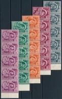 ** 1951 Ötéves Terv II Sor Hajtott ötöscsíkokban (50.000++) / Mi 1173-A1185 Folded Stripes Of 5 - Stamps