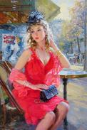 №40.7 Postcard Modern New Art Konstantin Razumov Woman In Red Dress Is Waiting - Russie