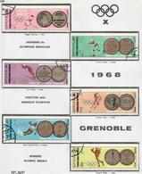 YEMEN REPUBBLICA ARABA 1968 - OLIMPIADI MEDAGLIE - USATI ATTACCATI SU CARTONCINO - Yemen